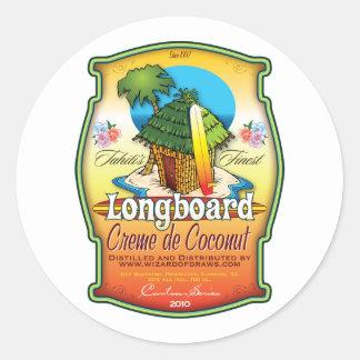 Longboard Creme de Coconut Etiquetas Redondas