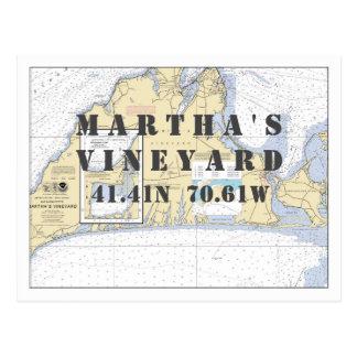 Longitud náutica de la latitud del Martha's Postal
