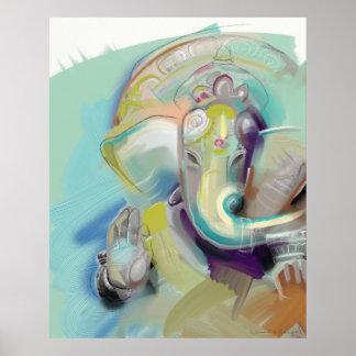 Lord Ganesh Elephant Buddha Póster
