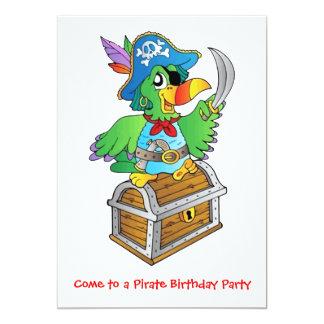 Loro de la fiesta de cumpleaños del pirata invitación 12,7 x 17,8 cm