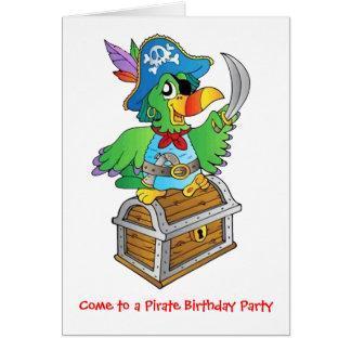 Loro de la fiesta de cumpleaños del pirata tarjeta de felicitación