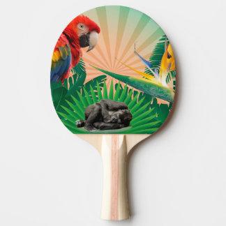 Loro de la selva del gorila pala de ping pong