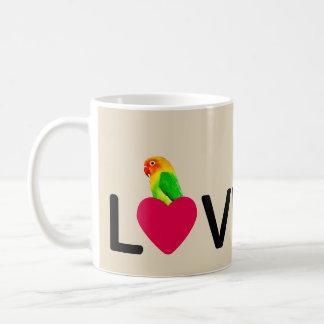Loro del amor de Birdy de la taza de café
