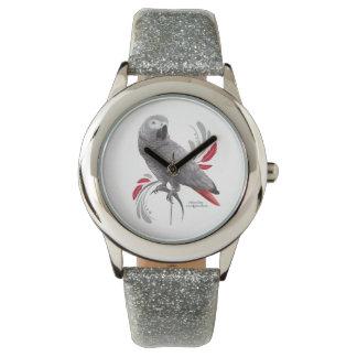 Loro del gris africano reloj