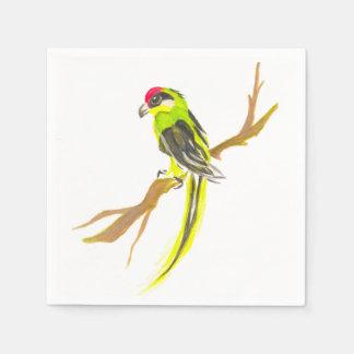 Loro en una rama. Pintura de la acuarela Servilletas De Papel