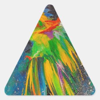 Loro en vuelo pegatina triangular