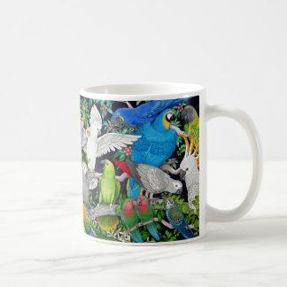 Loros coloridos del mascota de la taza del mundo