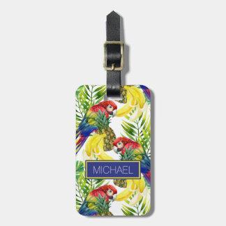 Loros conocidos de encargo y fruta tropical etiqueta para maletas