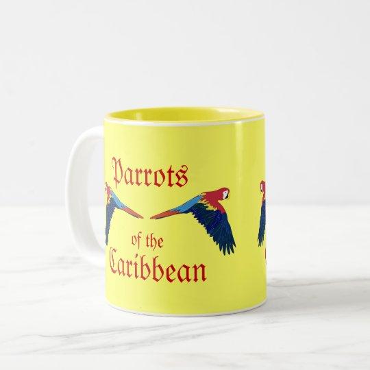 Loros del amarillo del Caribe Taza De Café De Dos Colores