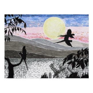 Loros del Macaw del escarlata en la postal de la o