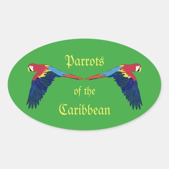 Loros del verde del Caribe Pegatina Ovalada