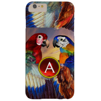 LOROS HÍPERES /RED Y MONOGRAMA AZUL DE LA PIEDRA FUNDA BARELY THERE iPhone 6 PLUS