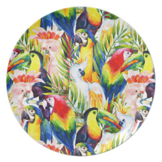 Loros y hojas de palma platos de comidas