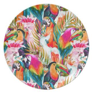 Loros y hojas de palma platos para fiestas