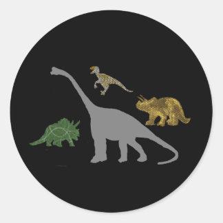 Los 4 Dinos Etiquetas Redondas