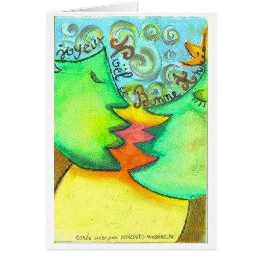 los abetos enamorados de noël tarjeta