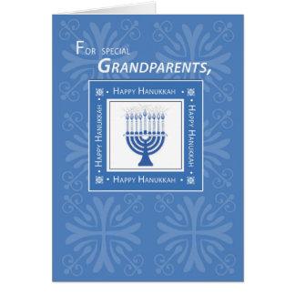 Los abuelos Jánuca desean Menorah azul Tarjeta