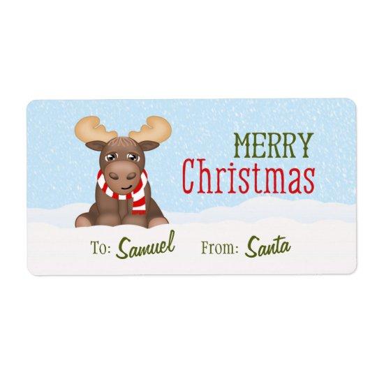 Los alces del navidad personalizaron etiquetas de envío