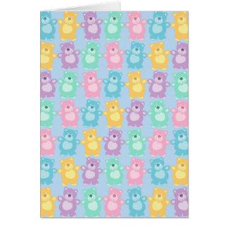Los alegres osos bailarines de colores fondo azul tarjetas