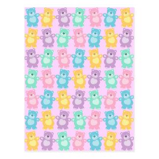 Los alegres osos bailarines de colores tarjetas postales