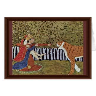 Los amantes tiran en un tigre en la selva. tarjeta