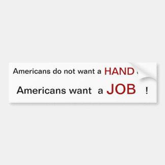 Los americanos quieren trabajar en 2012 pegatina para coche