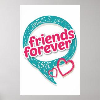 Los amigos aman para siempre los corazones <3 póster