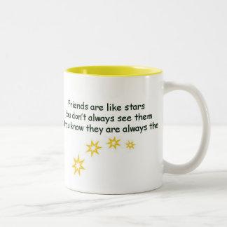 Los amigos son como las estrellas taza dos tonos