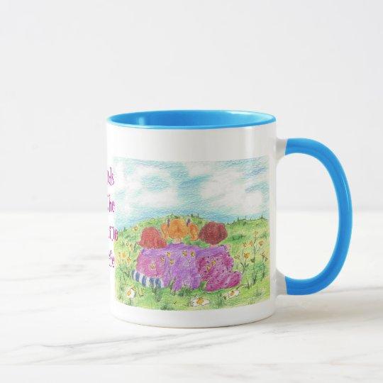 Los amigos son la sol del prado de la flor de la taza