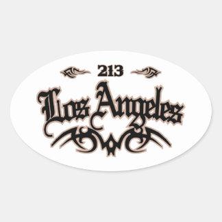 Los Ángeles 213 Pegatinas De Oval Personalizadas