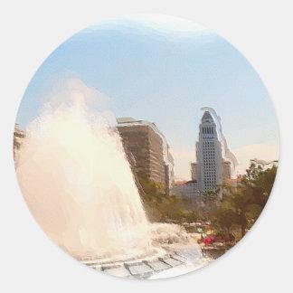 Los Ángeles, céntrico ayuntamiento y Fountains_ Pegatina Redonda