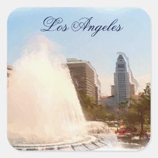 Los Ángeles, céntrico ayuntamiento y Fountains_ Pegatina Cuadrada