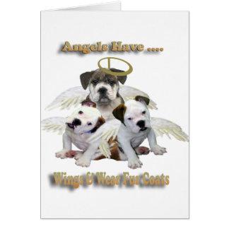 Los ángeles del dogo tienen alas y abrigos de piel tarjetas
