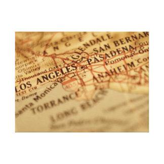 Los Ángeles, impresión del mapa del vintage de CA Impresión En Lona Estirada