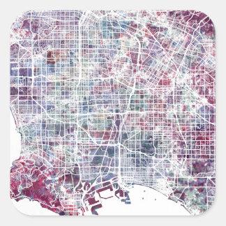 Los Angeles map California watercolor painting Pegatina Cuadrada
