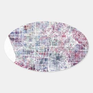 Los Angeles map California watercolor painting Pegatina Ovalada
