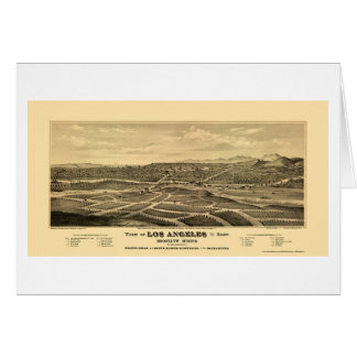 Los Ángeles, mapa panorámico de CA - 1877 Tarjeta De Felicitación