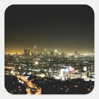 Los Ángeles, noche hermosa de CA Pegatina Cuadrada