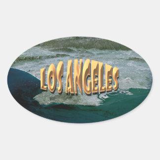 Los Ángeles Pegatina Ovalada
