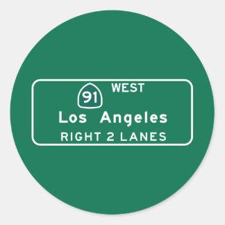 Los Ángeles, señal de tráfico de CA Pegatina Redonda