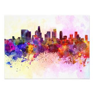 Los Angeles skyline in watercolor background Impresiones Fotograficas