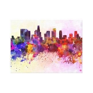 Los Angeles skyline in watercolor background Lona Envuelta Para Galerias