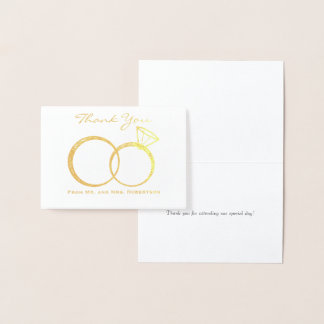 Los anillos de bodas le agradecen tarjeta con relieve metalizado