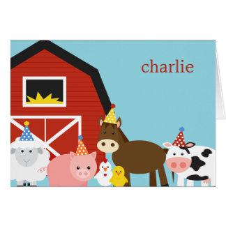 Los animales del campo le agradecen cardar tarjeta pequeña