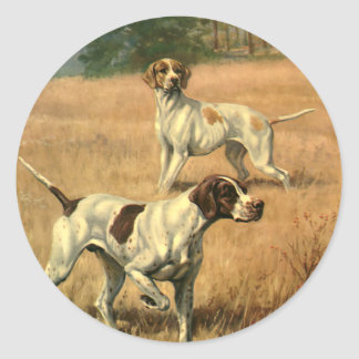 Los animales del vintage, indicador persiguen la pegatina redonda