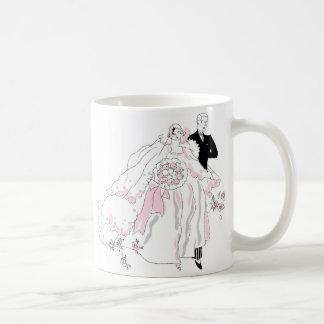 los años 20 novia y novio taza de café