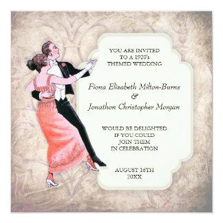 los años 20 que casan pares del baile del vintage invitación 13,3 cm x 13,3cm