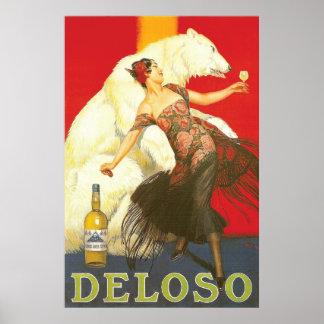 Los años 30 de París de los licores de Del Oso Poster