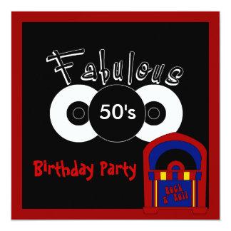 Los años 50 fabulosos de la fiesta de cumpleaños invitación 13,3 cm x 13,3cm