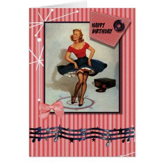 los años 50 jiving el perno encima del chica tarjeta de felicitación